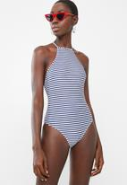 Lithe - High-neck strappy back one piece swimsuit - navy & white