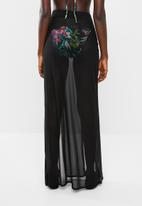 Missguided - Mesh split maxi skirt - black