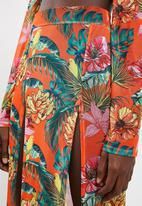 Missguided - Mesh floral split maxi skirt - orange