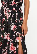 Revenge - Floral spaghetti strap jumpsuit - black