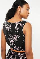 Revenge - Cherry blossom belted dress - black