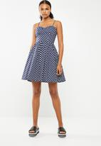 Revenge - Polka dot bustier dress - navy & white