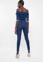 Sissy Boy - Bardot biker jumpsuit - blue