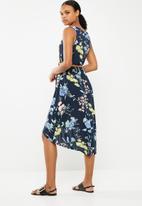 Revenge - Floral sleeveless belted dress - navy