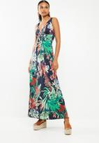 Revenge - All-over print maxi dress - navy