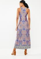 Revenge - Sleeveless paisley print dress - blue