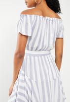 Revenge - Cap sleeve stripe dress with self belt - blue