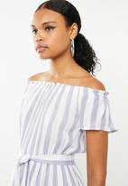 Revenge - Cap sleeve stripe dress with self belt - blue
