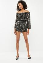 STYLE REPUBLIC - Sequinned playsuit - black
