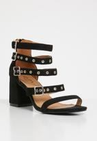 Jada - Buckle detail strappy heels - black