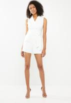Sissy Boy - Girl boss wrap playsuit with button detail - white