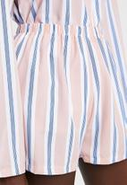 Missguided - Long sleeve short pj set stripe - pink