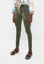 Missguided - Sinner high waisted combat skinny - khaki green