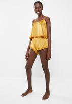 Missguided - Ruffle satin cami pyjama short set - yellow