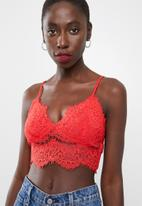 Missguided - Core corded lace bralet - red
