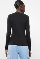 Missguided - Crew neck ribbed top - black