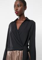 Missguided - Wrap over tie side blouse - black