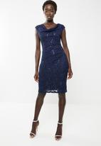 Revenge - Lace cap sleeve bodycon dress - navy