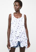 Revenge - Feather print tunic - white