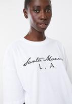 Missguided - Santa monica oversized tee pj set - black & white