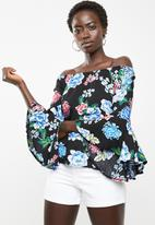 Revenge - Dark floral off shoulder top - black