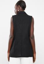 Superbalist - Sleeveless double breast linen blend blazer - black
