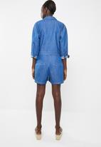 Superbalist - Denim zip thru jumpsuit - blue