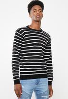 Superbalist - Stripe pullover knit - black & white
