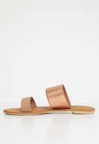 edit - Double band sandals - beige & rose gold