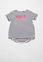 name it - Kasa short sleeve top - white & navy