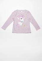 name it - Pony erika long sleeve top - pink & grey