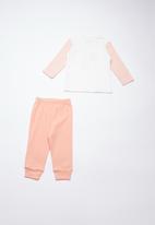 Baby Corner - Elephant printed pyjama set  - white & peach