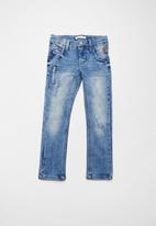 name it - Silas jogger denim pants - blue