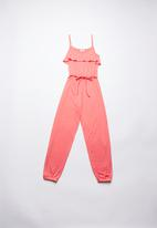 Rebel Republic - Jumpsuit with frill detail - pink