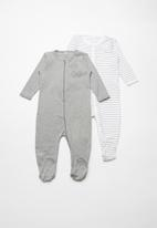 name it - Night sleepsuit 2pack - grey melange