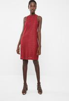 Superbalist - High neck lace dress - red