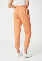 Cotton On - Abi high waist paper-bag pants - orange