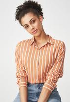 Cotton On - Rebecca shirt - orange & white