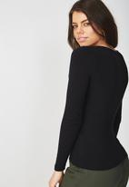 Supré  - Long sleeve deep v - black