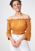 Cotton On - Sofia off the shoulder top - honey brown