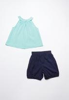 Superbalist - Smock top with bloomer shorts - turquoise and navy