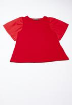 Superbalist - Woven knit ruffle tee - red