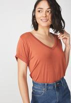 Cotton On - Karly short sleeve v-neck top - orange