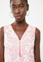 Revenge - Butterfly zip detail top - pink