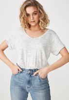 Cotton On - Karly short sleeve v-neck top - white & grey