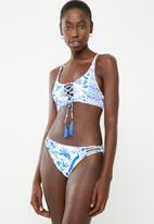 Lithe - Criss-cross front bikini set - blue & white