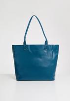 Anni King - Hydragea leather shopper bag - blue