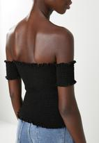 Superbalist - Smocked off the shoulder top - black