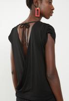 Superbalist - Ruched shoulder wrap back top - black