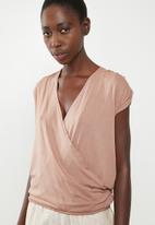 Superbalist - Ruched shoulder wrap back top - pink